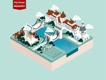 Красивая равновеликая идея проекта стиля города Будапешта иллюстрация вектора