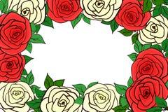 Красивая рамка желтого цвета и красных роз Стоковое Изображение