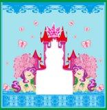 Красивая рамка замка единорога и принцессы сказки Стоковая Фотография RF