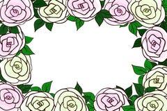 Красивая рамка розовых и зеленых и желтых роз Стоковые Фото