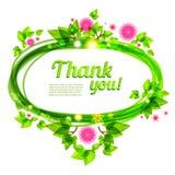 Красивая рамка с листьями и цветками зеленого цвета Иллюстрация штока