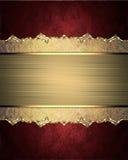 Красивая рамка с scuffed краями и картина на красной предпосылке Элемент для конструкции Шаблон для конструкции скопируйте космос Стоковая Фотография RF