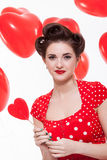 Красивая ретро женщина празднуя валентинки стоковые изображения rf