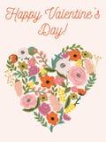 Красивая ретро флористическая карточка на день валентинок Стоковое фото RF