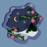 Красивая рождественская открытка с снежинками иллюстрация штока
