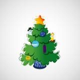 Красивая рождественская елка на светлой предпосылке Стоковое Изображение RF
