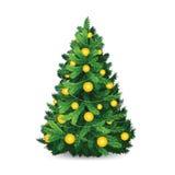 Красивая рождественская елка с шариками золота бесплатная иллюстрация