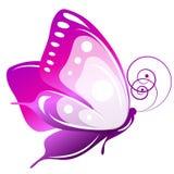 Красивая розовая бабочка, изолированная на белизне иллюстрация штока
