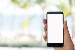 Красивая рука ` s женщины используя умный телефон на пляже Экран белизны Smartphone Пустой пустой экран Стоковое Фото