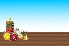 Красивая свеча рождества и предпосылка шарика абстрактная иллюстрация штока
