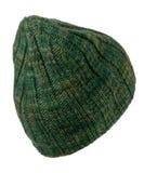 Красивая связанная шляпа изолированная на белой предпосылке зеленый шлем Стоковые Изображения RF