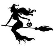 Красивая сексуальная ведьма с силуэтом веника бесплатная иллюстрация