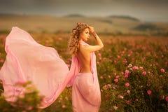 Красивая сексуальная девушка в розовом платье стоя в розах сада стоковые изображения rf
