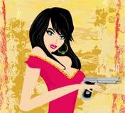 Красивая сексуальная девушка держа оружие иллюстрация вектора