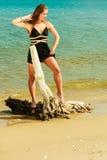 Красивая сексуальная девушка на seashore Стоковые Фотографии RF