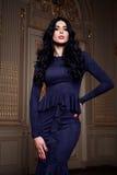 Красивая сексуальная женщина в собрании осени элегантного платья модном состава волос брюнет весны длинного загорела тонкую диагр Стоковые Изображения