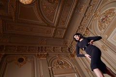 Красивая сексуальная женщина в собрании осени элегантного платья модном состава волос брюнет весны длинного загорела тонкую диагр Стоковое Изображение RF