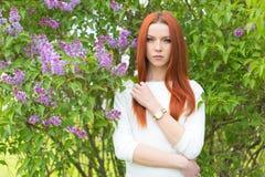 Красивая сексуальная милая рыжеволосая девушка в белом платье стоя близко кусты с сиренью Стоковое Изображение RF