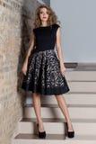 Красивая сексуальная элегантная женщина с ярким составом в платье вечера для события, Новый Год, всход моды для одежды ca Стоковые Изображения RF