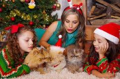 Красивая семья нося рождество одевает, обнимающ ее котов, курчавая девушка с красной связью в ее волосах пока Стоковое фото RF