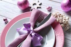 Красивая сервировка стола рождества Стоковая Фотография