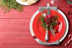 Красивая сервировка стола рождества Стоковое Изображение RF