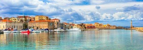 Красивая серия Греции - живописный старый городок Chania Крит Стоковые Изображения RF