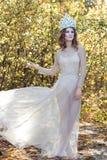 Красивая симпатичная нежная грациозно fairy фея в кроне цветка Стоковое Фото