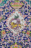 Красивая старая украшенная крася мозаика на стене Golestan Стоковые Фотографии RF