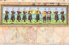 Красивая старая украшенная крася мозаика на стене Golestan Стоковые Фото