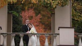 Красивая стойка пар свадьбы на балконе осени te, предпосылке леса видеоматериал