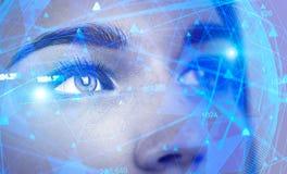 Красивая сторона женщины, концепция AI стоковые фотографии rf