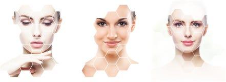 Красивая сторона молодой и здоровой девушки в коллаже Пластическая хирургия, забота кожи, косметики и концепция подниматься сторо стоковая фотография rf
