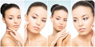 Красивая сторона молодой и здоровой девушки в собрании коллажа Пластическая хирургия, забота кожи, косметики и подниматься сторон стоковые фото