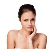 Красивая сторона молодой взрослой женщины с чистой свежей кожей Стоковое Изображение RF