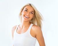 Красивая сторона молодой взрослой женщины с чистой свежей кожей - isol стоковые изображения rf