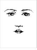 Красивая сторона молодой женщины с подбитыми глазами и бровями на белой предпосылке Стоковое Изображение RF