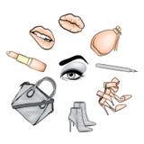 Красивая сторона ` s женщины с составом eyes губы Косметика Иллюстрация вектора для карточки или плаката Печать на одеждах Advert бесплатная иллюстрация