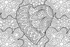 Красивая страница книжка-раскраски с формой сердца бесплатная иллюстрация