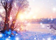 Красивая сцена ландшафта зимы с рекой льда Стоковая Фотография RF