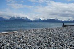 Красивая сцена на пляже почтового голубя Стоковая Фотография RF