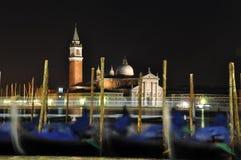 Красивая сцена ночи в Венеции Италии Стоковые Фото
