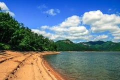 Красивая сцена острова цапли на озере lianhua Стоковая Фотография