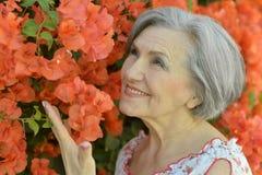 Красивая счастливая пожилая женщина стоковые изображения rf