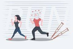 Красивая тонкая девушка приниманнсяый за jogging и таким образом мотирует пожилого человека иллюстрация штока