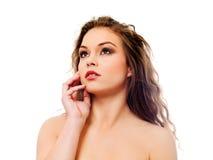 Красивая топлесс женщина с длинным вьющиеся волосы Стоковые Фотографии RF