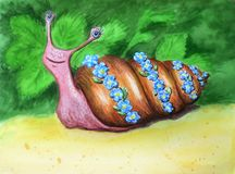 Красивая улитка акварели в венке цветка Смешной шуточный усмехаясь характер на зеленой предпосылке лета бесплатная иллюстрация