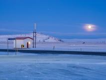 Красивая луна во время зимнего времени Стоковое фото RF