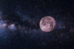 Красивая луна на ночном небе Стоковое фото RF