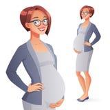 Красивая усмехаясь беременная бизнес-леди Полнометражная изолированная иллюстрация вектора иллюстрация вектора